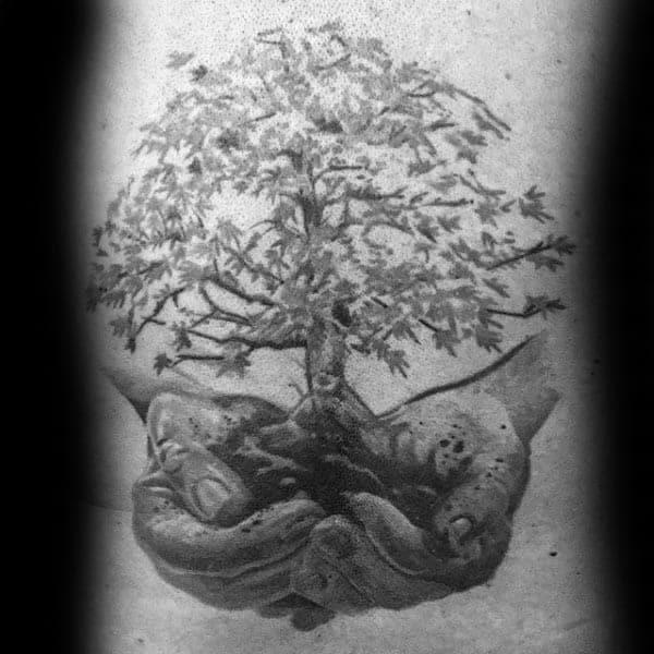 Hands Holding Bonsai Tree Mens Rib Cage Tattoo