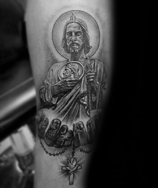 Hands Holding Cross With St Jude Mens Arm Tattoo