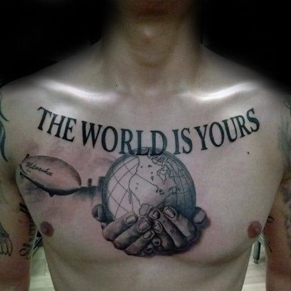 Hands Holding Globe Guys The World Is Yours Upper Chest Tattoos