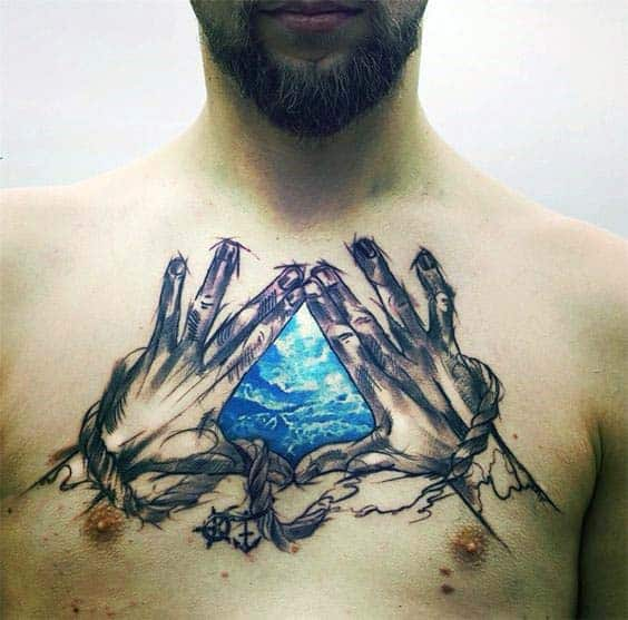 Hands Making The Shape Of A Triangle With Cloudy Sky Mens Upper Chest Tattoos