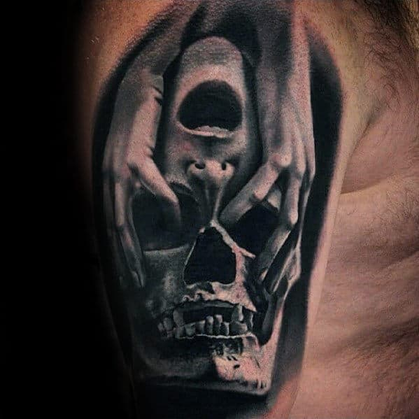 Hands Over Skull Mens 3d Arm Tattoo Designs