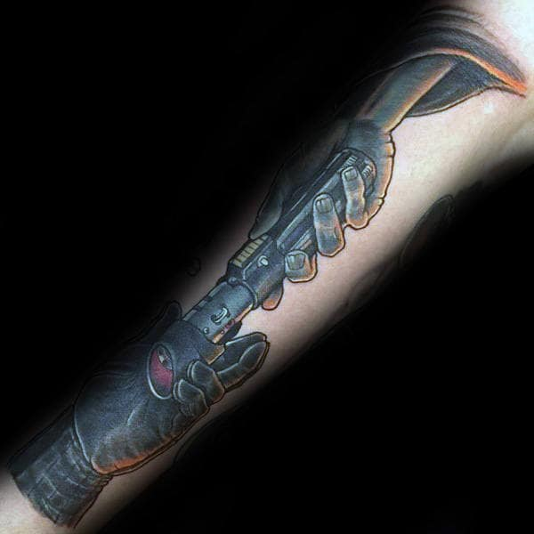 Hands Passing Lightsaber Mens Forearm Tattoo