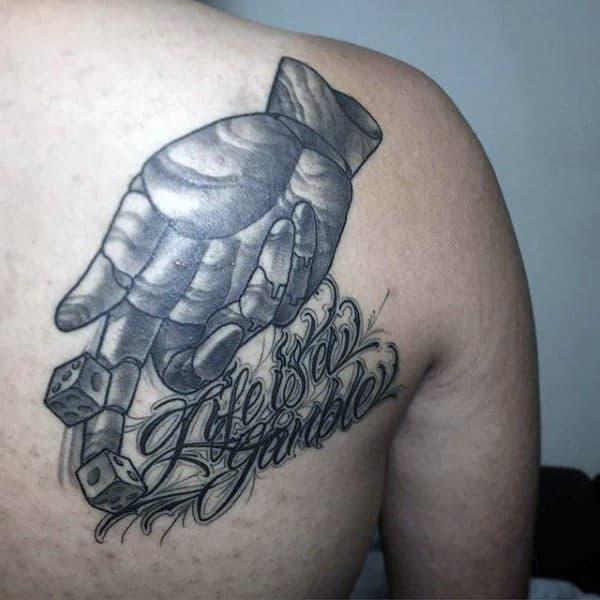 Hands Rolling Dice Tattoo For Men On Back Of Shoulder
