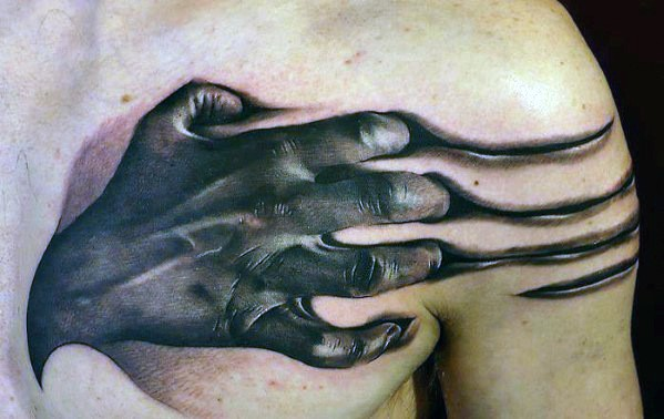 Hands Scratching Into Skin Guys 3d Realistic Sweet Upper Chest Tattoos