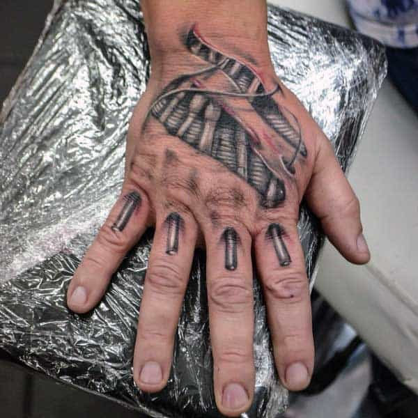 Hands Skin Rip Tattoo Designs On Men