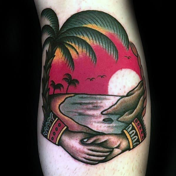 Hands With Beach Landscape Guys Traditional Tattoo Ideas