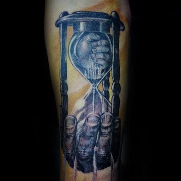 Hands With Broken Hourglass Guys Inner Forearm Tattoo