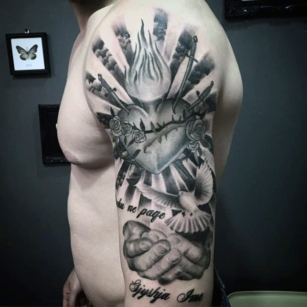 Hands With Dove And Sacred Heart Guys Arm Tattoo Ideas