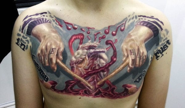 Hands With Drum Sticks Playing Beating Heart Mens Upper Chest Tattoo