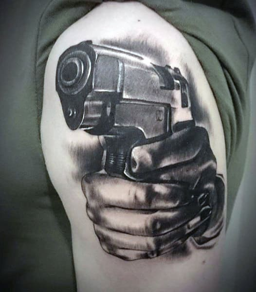 Hands With Firearm Male Gangster Upper Arm Tattoos