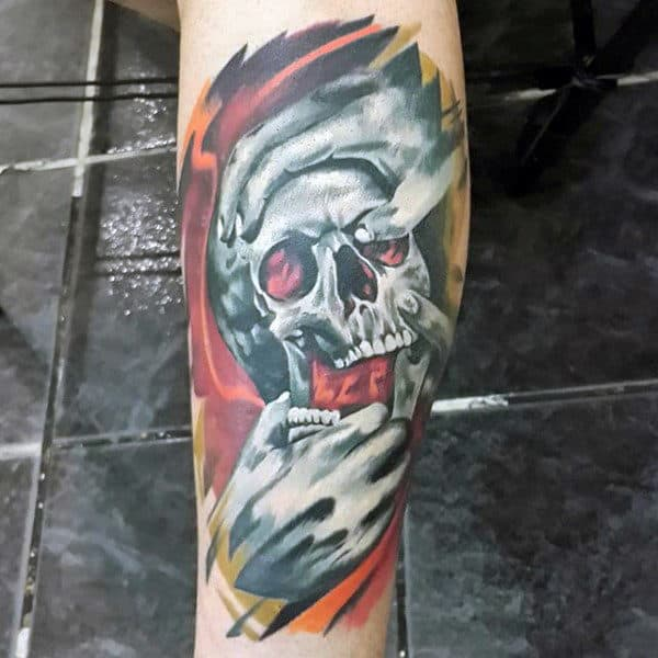 Hands With Skull Abstract Mens Awesome Forearm Tattoo Watercolor