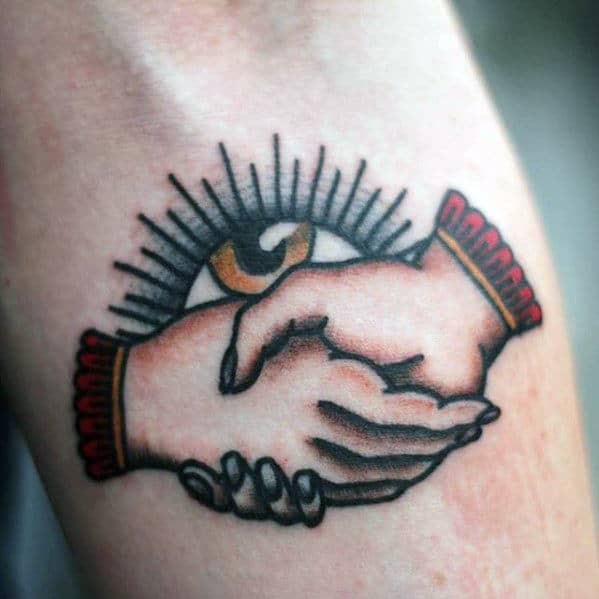 Handshake Eye Traditional Small Guys Inner Forearm Tattoo
