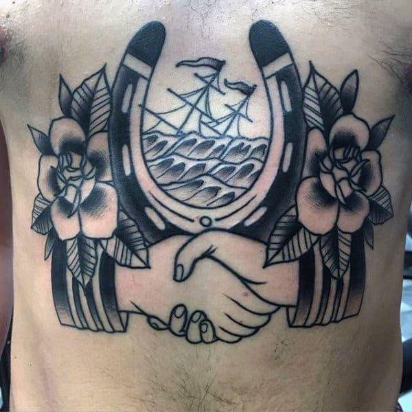 Handshake Horseshoe Mens Traditional Rose Chest Tattoos