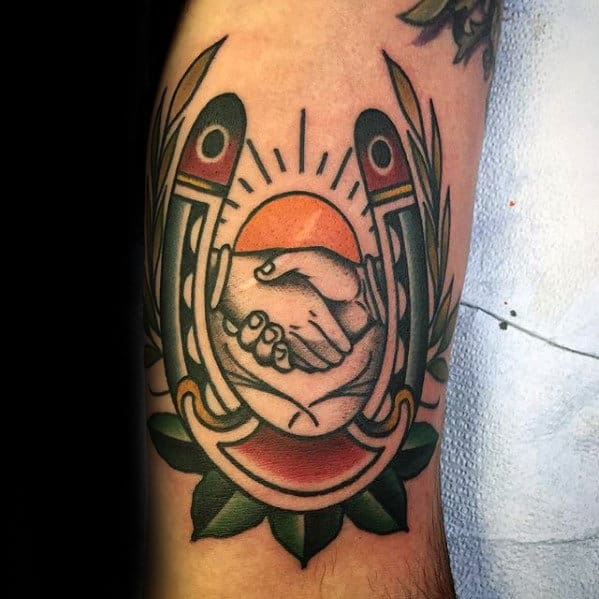 Handshake With Sun And Horseshoe Male Traditional Arm Tattoo