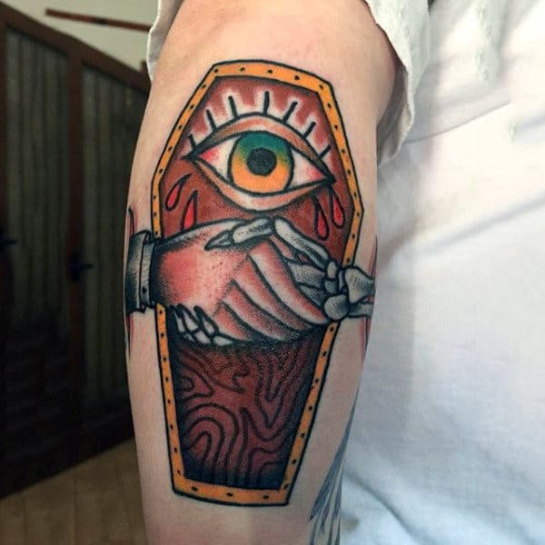 Handshake Wooden Coffin Tattoo With Eye For Guys