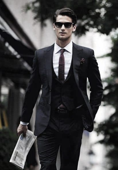 Handsome Black Suit Style Ideas For Guys With Burgundy Red Tie