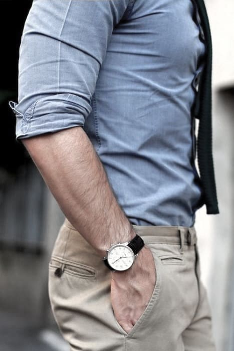Handsome Business Casual Outfits Style Ideas For Guys Blue Shirt With Khakis