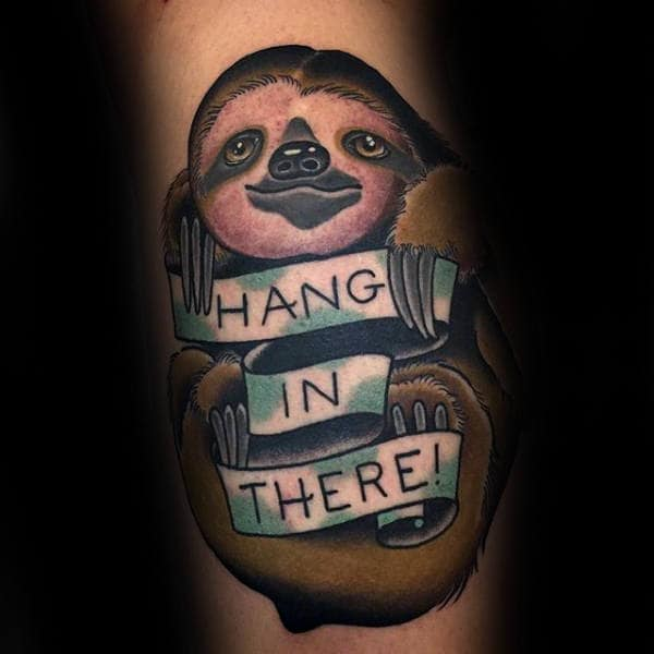Hang In There Mens Old School Sloth Arm Tattoo Designs