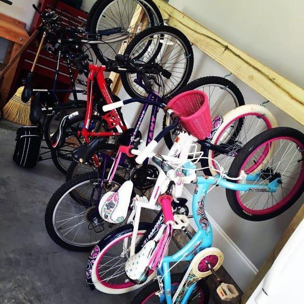 Hanging Hook Wood Beam Simple Garage Bicycle Storage Ideas
