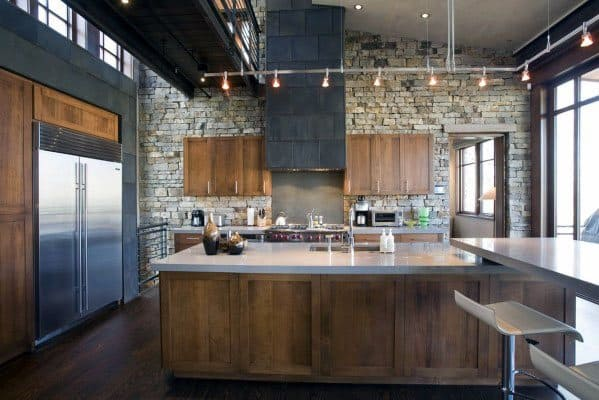 Hanging Silver Track Lighting Ideas For Rustic Kitchen