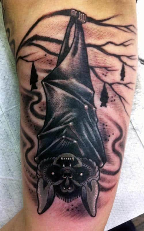 Hanging Upside Down Bat Tattoo For Men