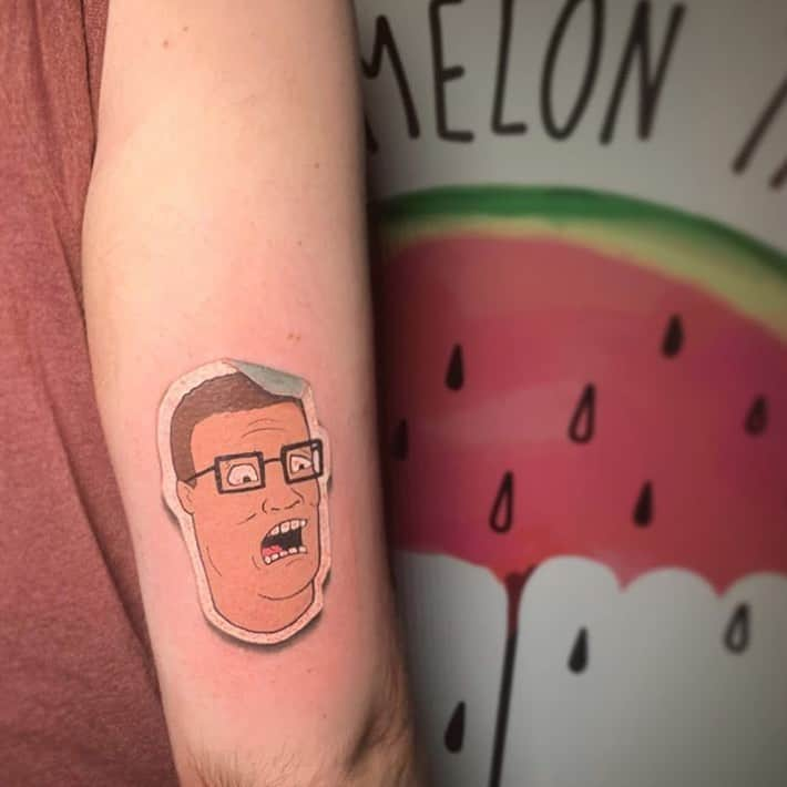 Hank Hill Watermelon Sticker Funny Tattoo