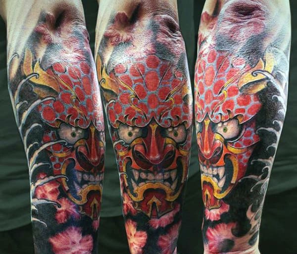 Hannya Mask Tatto With Leering Mouth Guys Forearm Sleeve Tattoo Ideas