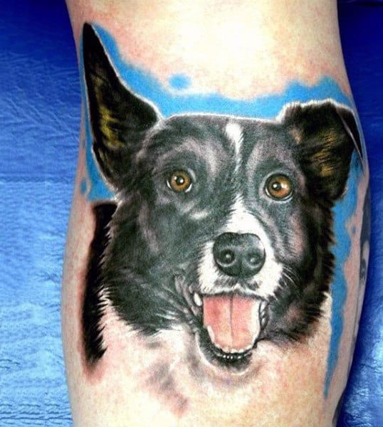 Happy Dog Watercolor Guys Tattoos