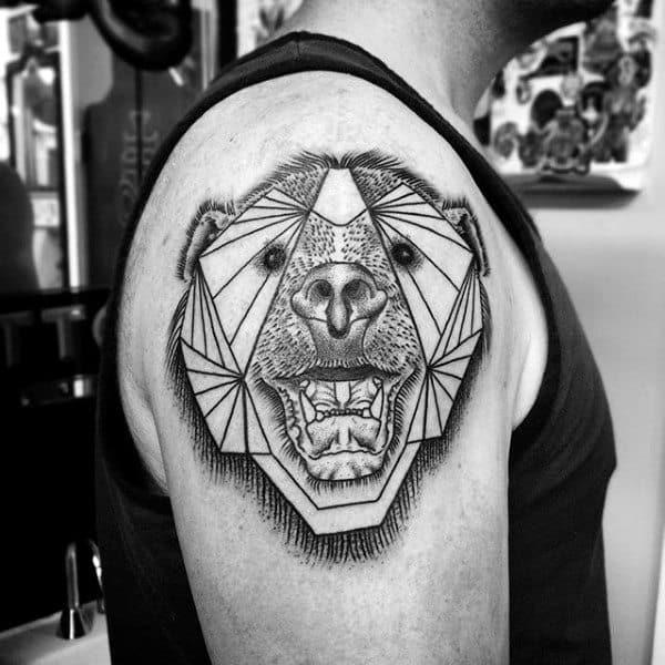 Happy Geometric Bear Guys Upper Arm Tattoo