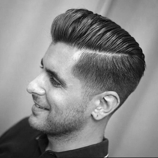 Hard Part Pompadour Haircut For Men