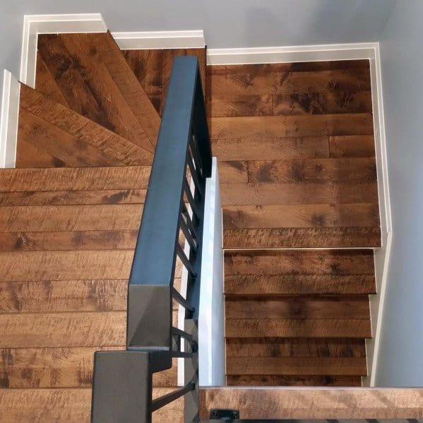 Hardwood Basement Stairs Home Ideas With Square Metal Railing
