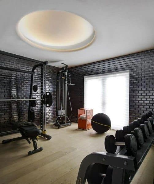 Hardwood Black Home Gym Flooring Interior Design