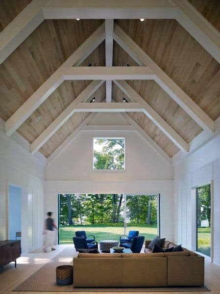 fabulous white living rooms vaulted ceilings beams | Top 70 Best Vaulted Ceiling Ideas - High Vertical Space ...