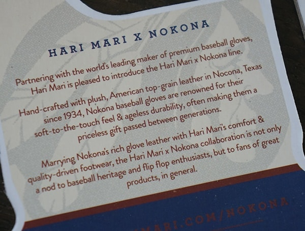 Hari Mari X Nokona Sandals Details Card