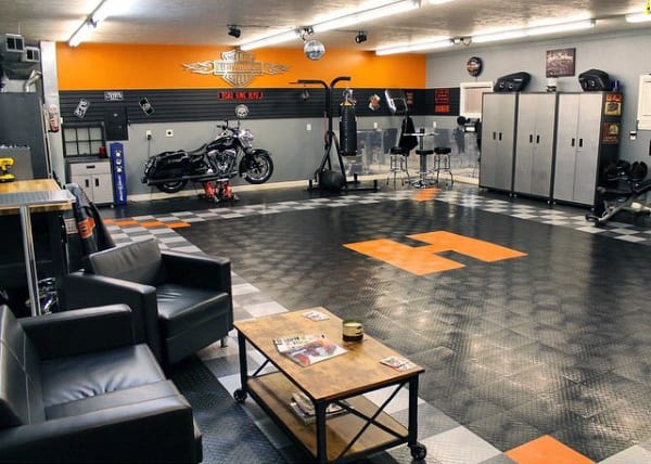 Harley Davidson Letter H Orange Garage Flooring With Black Locking Tiles