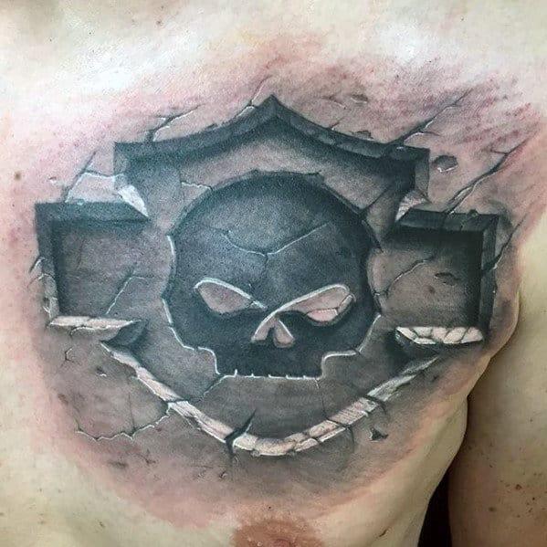 Harley Davidson Mens 3d Stone Upper Chest Tattoo