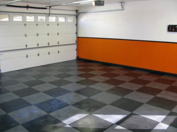 Harley Davidson Themed Orange And Black Painted Garage Wall Ideas