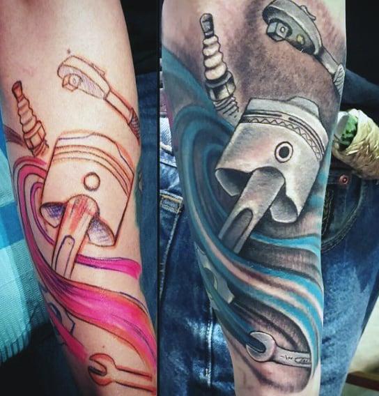Harley Engine Piston Tattoo On Men
