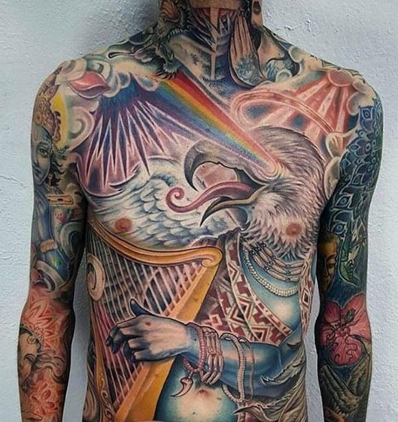 Harp Guys Tattoo Designs Full Chest