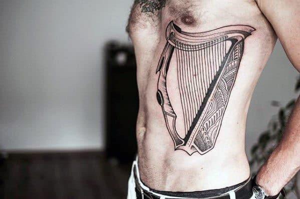Harp Guys Tattoos Detailed Rib Cage Side Design