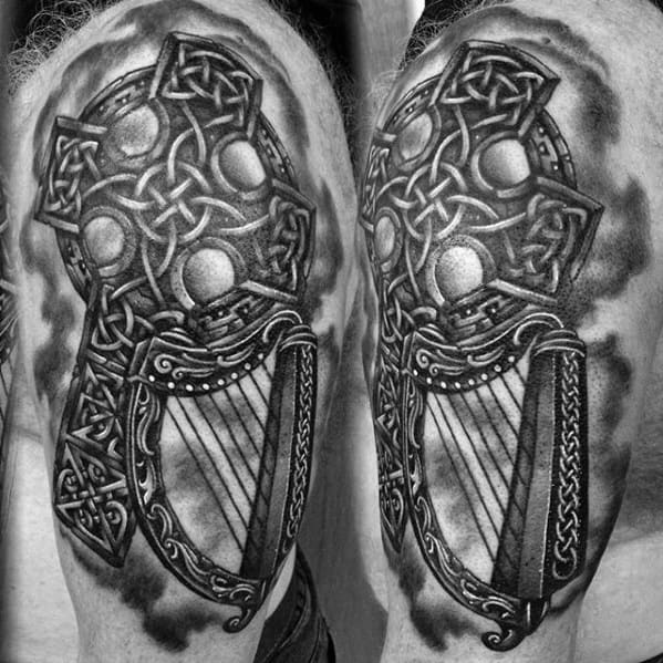 Harp Male Tattoo Designs Celtic Knot Cross Arm