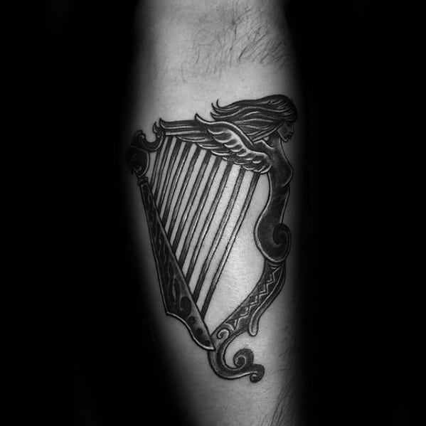 Harp Male Tattoos Leg Calf