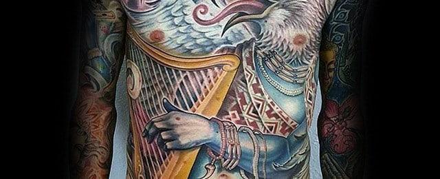 60 Harp Tattoo Designs For Men – Musical Instrument Ink Ideas
