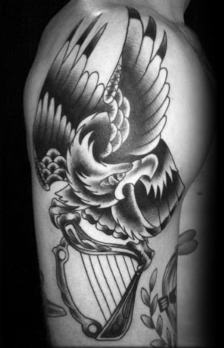 Harp With Bald Eagle Traditional Arm Tattoos Men
