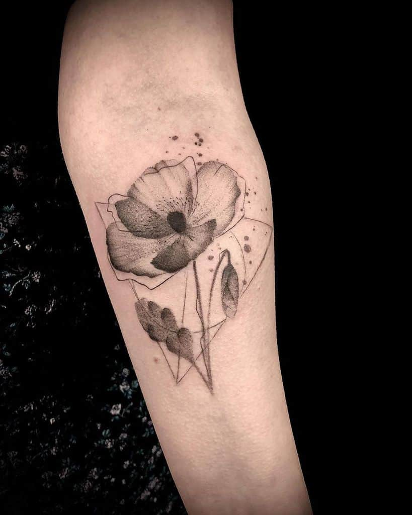 harry potter deathly hallows flowers tattoo