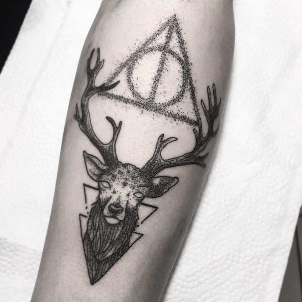 Harry Potter Deathly Hallows Patronus Tattoo