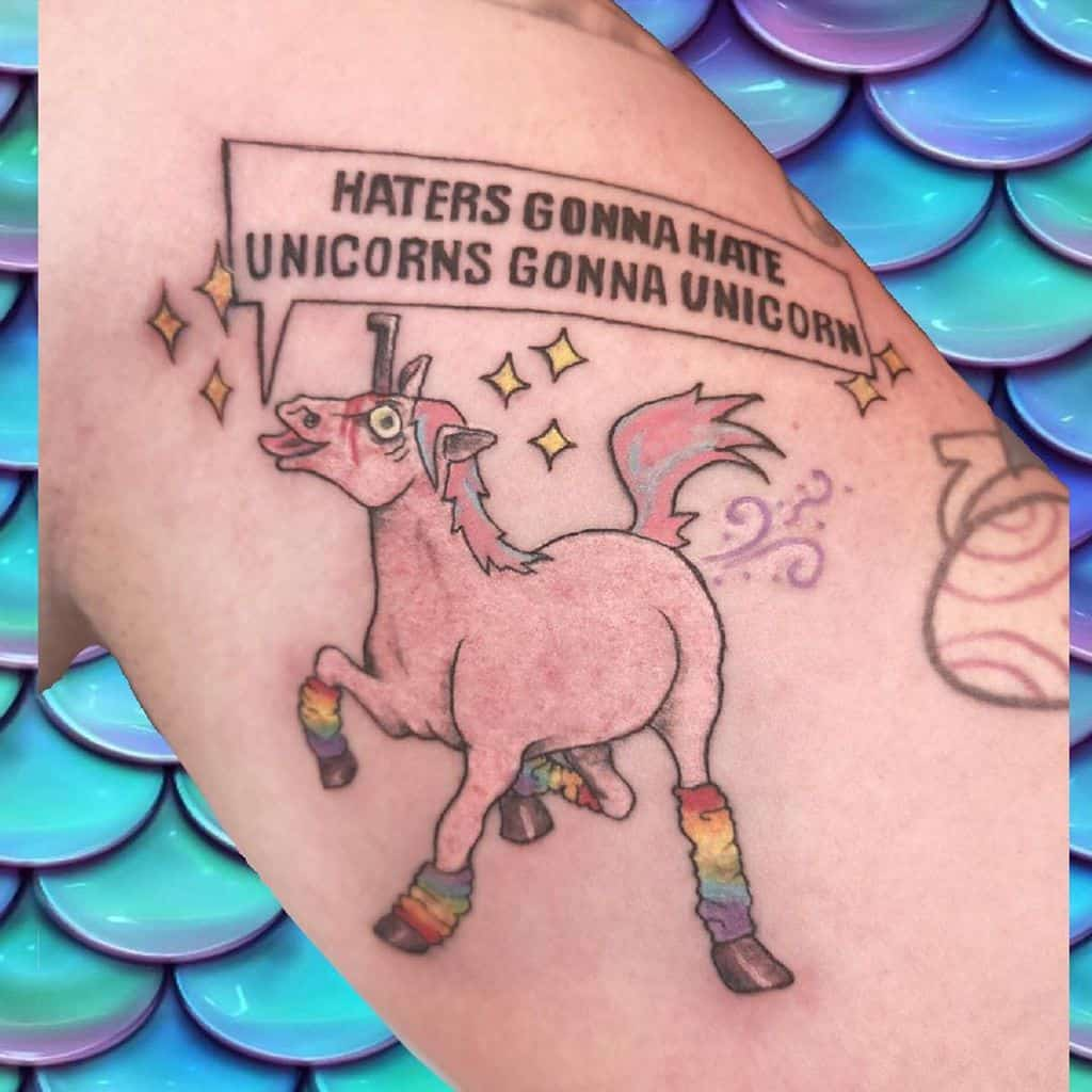 Haters Gonna Hate Unicorn Funny Tattoo
