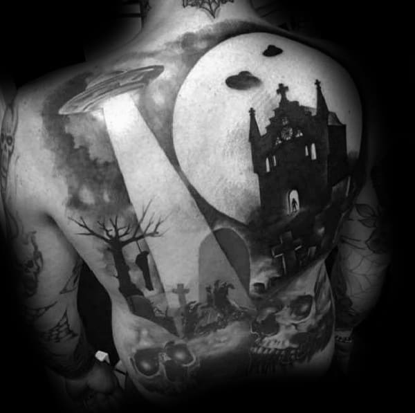 Haunted Castle With Alien Spaceship Guys Coolest Tattoos On Back