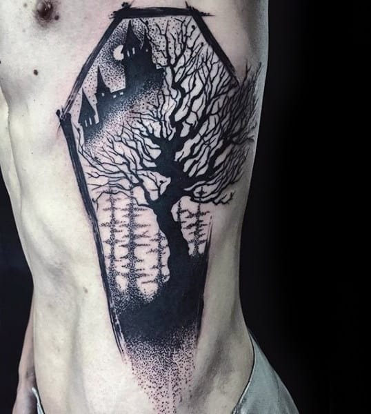 Haunted Castle With Tree Amazing Male Rib Cage Side Tattoos