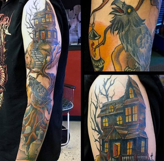 Haunted House Halloween Tattoo Male Full Sleeves